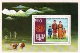 Bhutan 1974 S/Sheet World Population Year MNH - Bhoutan