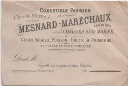 Carte Commerciale/MESNARD-MARECHAUX/Tirage D'essai De Lithographie/CHALONS Sur MARNE/ Vers 1880   CAC122 - Cartes De Visite