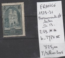 TIMBRES EN LOT DE FRANCE  NEUF **  Nr  259 ** B TYPE III  COTE 725 € MONUMENTS ET SITES - France