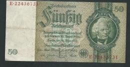 Bankntes,Banknote, Germany,50 Mark,Reichsmark,1933 Year  E.22436731 - LAURA 4105 - [ 4] 1933-1945: Derde Rijk