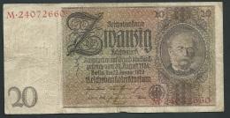 DEUTSCHES REICH 20 REICHSMARK 22.01.1929 LETTER E SERIE   M.24072660  - LAURA 4108 - [ 4] 1933-1945 : Terzo  Reich
