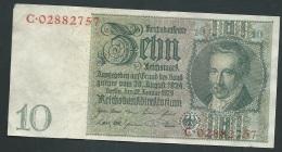 Allemagne.Billet 10 Reichsmark   S2RIE  C.02882757- LAURA 4110 - 10 Reichsmark