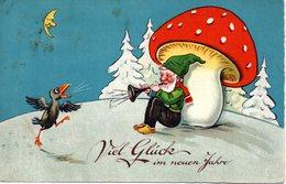 GNOMI-GNOMES-LUTINS-NAINS-ZWERGE - FUNGO - MUSHROOM - CORVO - ANNO NUOVO - NEUEN JAHRE - N 137 - Nouvel An