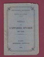 170318 - PHOTOGRAPHIE - 1902 NOTICE Sur L'APPAREIL OPTIQUE - Photography