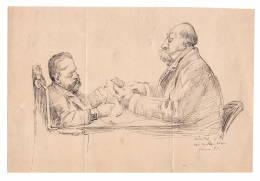 LEANDRE/  Dessin à La Plume, Dédicacé à Mr De L'Argentiere 1888 Sur Bristol 23 X 15 Cm. - Autographes