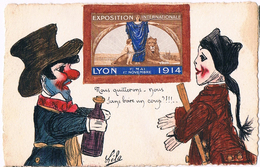 Lyon Vignette Exposition Internationale De 1914 Carte Illustrée De Marionettes - Lyon