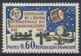 """France Rep. Française 1965 Mi 1510 YT 1451 Sc 1122 ** I.T.U. Emblem, """"Syncom"""", Morse Key, Pleumeur-Bodou Centre - Telecom"""
