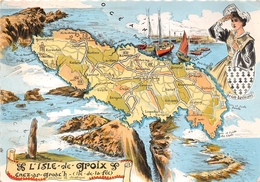 """¤¤  -  ILE De GROIX   -   Carte De L'Ile  -  Ancienne Ile Druidique  -  Illustrateur """" Hommualk """"     -  ¤¤ - Groix"""