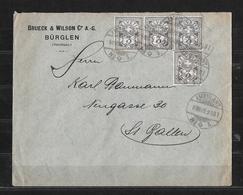 1906 ZIFFERMUSTER Faserpapier Mit Wasserzeichen → Brief Bürglen Brueck & Wilson  ►SBK-4x81 ►RRR◄ - 1882-1906 Wappen, Stehende Helvetia & UPU