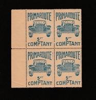 """Bloc De 4 Vignettes  """" PRIMAROUTE"""" 5 Frs Comptant - Commemorative Labels"""