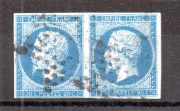 N° 14 : 20 Centimes Empire Non Dentelé Bleu En Paire. (Alb306) - 1852 Louis-Napoleon