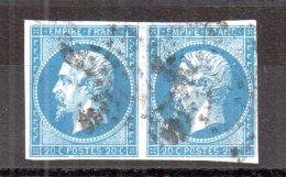 N° 14 : 20 Centimes Empire Non Dentelé Bleu En Paire. (Alb309) - 1852 Louis-Napoleon