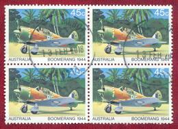 Australia 1980 45c Australian Aircraft SG763 Block Of 4 Used - 1980-89 Elizabeth II
