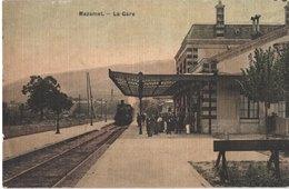 FR81 MAZAMET - Toilée Colorisée - La Gare - Train - Animée - Belle - Gares - Avec Trains