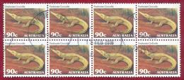 Australia 1981 90c Wildlife Freshwater Crocodile SG804 Block Of 8 Used - 1980-89 Elizabeth II