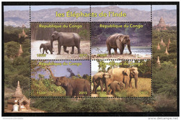 ELEPHANT,**NEW ISSUE** On SOUVENIR SHEET Of 4 STAMPS,Mint, MNH,#DA108 - Postzegels