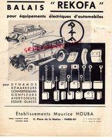 75- PARIS- RARE CATALOGUE ETS. MAURICE HOUBA- BALAIS REKOFA POUR EQUIPEMENTS ELECTRIQUES AUTOMOBILES-11 PLACE NATION- - Cars