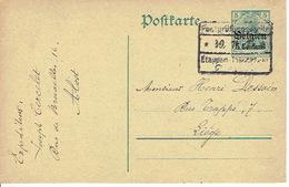Entier Germania 5 Ct ALOST Via Etappen Gent 1915 Getekend Joseph CERCELET AALST - Guerre 14-18