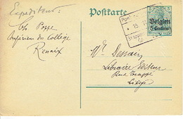 Entier Germania 5 Ct ALOST Via Etappen Gent 1915 Getekend Ch. POPPE Supérieur Du Collège à RENAIX - WW I