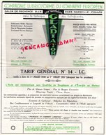 13- SALON DE PROVENCE-RARE TARIF  GLADIATOR-COMPAGNIE LUBRICIFORME CONTINENT EUROPEEN-HUILES GRAISSES AUTOMOBILES-1937 - Cars