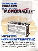 92- COLOMBES-MARSEILLE-LILLE-RARE PUBLICITE ACCUMULATEURS MONOPLAQUE TYPE JR POUR VEHICULES DIESEL- CAMION AUTOMOBILE - Cars