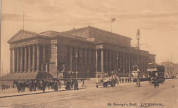 Old Postcard 1902 - St. George's Hall Liverpool England - Animated - VG Condition - By Hugo Lang Co. - 2 Scans - Liverpool