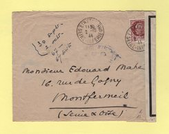 Etretat - Seine Inferieure - Lettre Avec Censure RO - 2-10-1944 - Guerre De 1939-45
