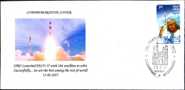 SPACE-WORLD RECORD OF 104 SATELLITES SINGLE LAUNCH-SPECIAL COVER-INDIA-2016-BX1-376 - Asia