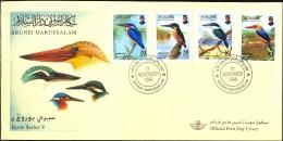 BIRDS SERIES V-KINGFISHERS-BRUNEI-FDC-1998-SCARCE-BX1-376 - Climbing Birds