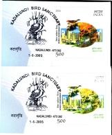 BIRDS-SANDWICH TERN-KADALUNDI BIRDS SANCTUARY-2 SPECIAL COVERS-ERROR-INDIA-2005-SCARCE-BX1-376 - Marine Web-footed Birds