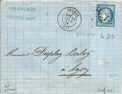 LAC De GRANNE (Drome)-Gros Ch.1705  Pour LYON - Sept.1874 - - 1871-1875 Cérès