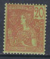 Indochine  N° 30 X Partie De Série, Type Grasset : 20 C. Brisque Sur Vert Trace De Charnière Sinon TB - Indochine (1889-1945)