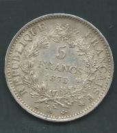 France - 5 Francs - Hercule - 1875 A - Paris - TB+ - Argent  Silver  Argent     Pia20903 - France