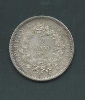 France - 5 Francs - Hercule - 1875 A - Paris - TB+ - Argent  Silver  Argent     Pia21002 - France