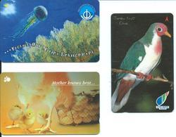 3 Télécartes Singapour Animal Aimaux Poule Oiseau Corail    (D 433) - Hongrie