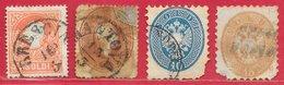 Lombardie-Vénétie N°12 5s Rouge, N°17 10s Brun, N°26 10s Bleu, N°27 15s Bistre 1858-64 O - Lombardo-Vénétie