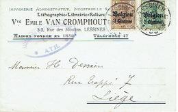 CP Publicitaire GERMANIA LESSINES 1916 Vers LIEGE - Censure De ATH - Vve Emile VAN CROMPPHOUT Imprimerie-Lithographie - Guerre 14-18