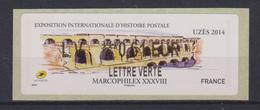 Vignette Uzès 2014 Le Pont Du Gard 0.61€ - 2010-... Abgebildete Automatenmarke