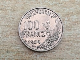 1954 No 'B' Mark 100 Franc Coin - Very Fine, Uncleaned - France