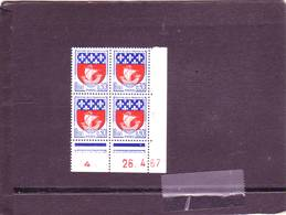 N° 1354B - 0,30F Blason De PARIS - CH De CG+CH - 1° Tirage Du 11.4.67 Au 8.5.67 - 26.04.1967 - - Dated Corners