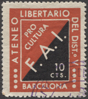 Viñeta Republicana De La Guerra Civil - FAI ATENEO LIBERTARIO PRO CULTURA - Spanish Civil War Labels