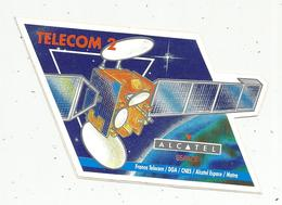 Autocollant, 14.5 X 9 , ALCATEL ESPACE , TELECOM 2 - Autocollants