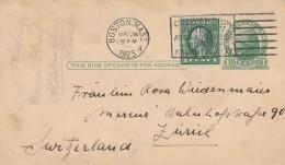 INTERO POSTALE USA CON FRANCOBOLLO AGGIUNTO 1923 -TIMBRO BOSTON (GX151 - Stati Uniti