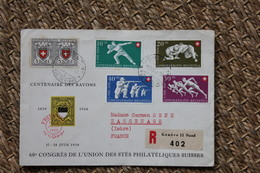 Enveloppe Recommandée Affranchissement Composé Oblitération Genève 1950 - Svizzera