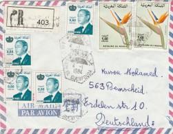 RACCOMANDATA 1984 MAROCCO PLURIAFFRANCATA-STRAPPO SUL RETRO (GX177 - Marocco (1956-...)