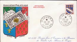 ENVELOPPE TIMBRE CFA   1963 ST DENIS  RP  1er JOUR EMISSION DU TIMBRE 5FRS BLASON TROYES - Réunion (1852-1975)