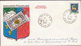 ENVELOPPE TIMBRE CFA    BLASON DE GUERET SURCHARGE 1 FR  VOIR AU DOS ST DENIS RP  REUNION - Réunion (1852-1975)