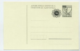 YUGOSLAVIA 1987 Posthorn Surcharge 70 On 50 D. Postcard, Unused. Michel P190A - Postal Stationery