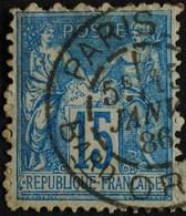 Sage N°90.Type Il Ob.(CAD)  PARIS  Bd Ornano 15 Janv 1886.( Bur 60 ) - 1876-1898 Sage (Type II)