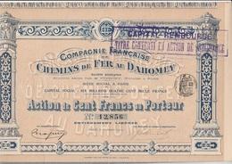 ACTION 100 FRANCS CHEMINS DE FER AU DAHOMEY -ANNEE 1912- TB - Chemin De Fer & Tramway